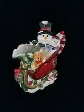 Bombay Company Porcelain Figural Snowman in Sleigh Creamer