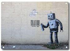 Banksy Robot Barcode Metal Wall Sign 200mm x 140mm  (2f)