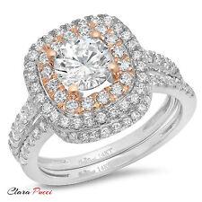 2.10CT Sim Round Cut Halo Wedding Engagement Bridal Ring band set 14k Multi Gold