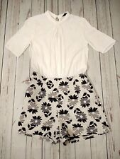 River Island White Chiffon Top Waffle Bottom Floral Playsuit Size 10