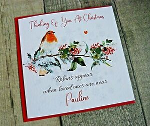 Handmade Personalised Christmas Card Thinking Of You At Christmas Time Robin WWW