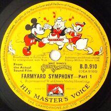 """Walt Disney's Silly Symphony - Farmyard - Part 1 / 2  10"""" 78rpm HMV B.D.910  UK"""