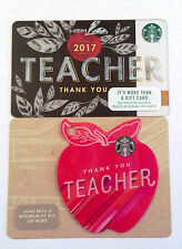 "Starbucks 2017 ""Thank You Teacher"" Gift Card Set -  ""Die-Cut Apple"""