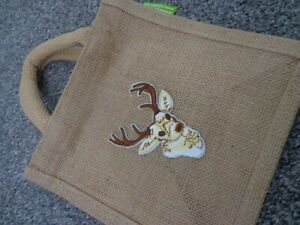 Hessian gift bag with reindeer / stag / elk motif NEW no need to wrap !!