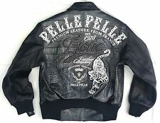 WOMENS PELLE PELLE LEATHER JACKET EXOTIC TIGER  BLACK SIZE 16 / XLARGE