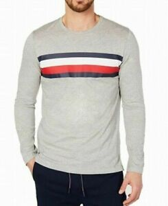 Tommy Hilfiger Mens Sleepwear Logo Stripe Long Sleeve Small 34-36 Gray