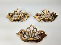 Vintage 3 KBC Drawer Pulls Cabinet Bail Handles Tulip Floral Brass N 18794 -3