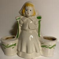 Vintage MidCentury Pottery Dutch Girl Double Planter Porcelain Ceramic Figurine