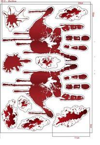 Halloween 3D Haunted Blood Hand Wall Door Stickers Horror Decorations Party Deco
