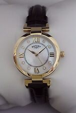 NEW Rotary Ladies LS03021/41 Gold Plated Mother of Pearl Dial Leather Watch £129