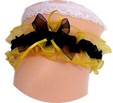 Strumpfband Braut gelb schwarz Herzchen Schleifen Hochzeit Kostüm Neu EU