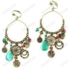 "CLIP ON 3.75""long BIG CHANDELIER EARRINGS vintage brass GYPSY shell CHARMS beads"