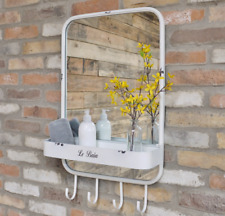 White Wall Mirror Industrial With Shelf 4 Hooks Hanging Storage Display Le Bain