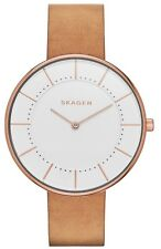 Skagen Gitte Silver Dial Rose Gold Tone Brown Leather Women's Watch SKW2558 SD
