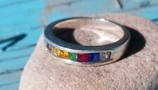 Band  ring -7 stones in a band,  925 sterling silver, Ring, Size 7