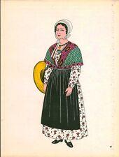 Gravure d'Emile Gallois costume des provinces françaises 1950  Provence