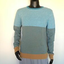 Forever 21 Men Stripped Blue Crew Neck Mens Cotton Knit Sweater Size XL Extra L