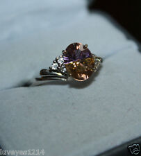 10k white gold setting purple yellow Ametrine Solitaire Engagement sterling Ring