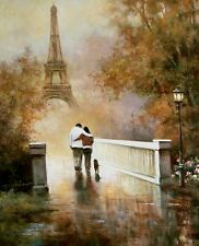 T.C.Chiu: Walk in the Park II Fertig-Bild 40x50 Wandbild Romantik Paris Paar