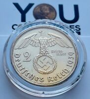 1939 Germany Third Reich 2 Reichsmark A Berlin Silver Coin - 24K GOLD Plated