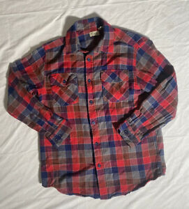LL Bean Boy's Youth L Soft Flannel Plaid Button Up Long Sleeve Shirt Red Blue