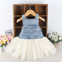 Kids Baby Girls Clothes Summers Denim Tulle Dress / Overalls Age 6M-4Y Outfits