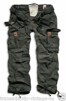 SURPLUS PREMIUM VINTAGE TROUSERS ARMY CARGO PANTS MENS WORK COMBATS  BLACK CAMO