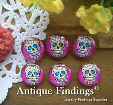 10PCS 12mm Photo Handmade Skull Glass Dome Cabochon Cameo Cabs BCH134B