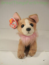 TY 2.0 2007 Pico Brown White Stuffed Animal Toy Beanie Babies Dog Puppy Pink