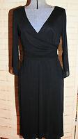 Kay Unger NY Black Faux Wrap Dress Size 4 Elegant Styling Pink Satin Lined