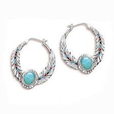 Moda 925 Pendientes de plata Pendiente de aro turquesa para mujer Joyería Un