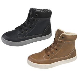 Fleece Lined Hi Tops Ankle Boots Trainers Womens Boys Girls Warm Winter Lace Ups