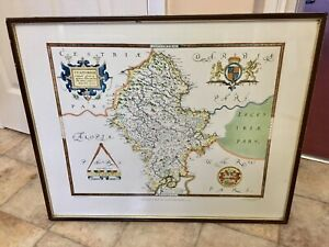 """Framed Saxton's Map Of Staffordshire 1577,Printed By Taylowe Ltd 1968,  25""""x 20"""""""