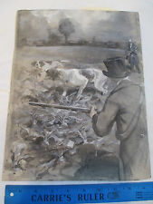 GD Armour Watercolor Painting Hunters & Dogs hounds British Hunting Guns Hunt