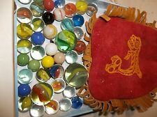 VINTAGE  HAND MADE  BUCK SKIN MARBLE BAG NATIVE KILLER WHALE  > VINTAGE MARBLES