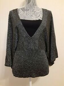 """Cruise Wear & Co Black Gray 3/4 Angel Sleeve Top/Cardigan XL """"Cleavage Cover"""""""