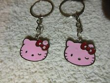 """Hello Kitty """" Light Pink / silver tone"""" Keychain Ring** Lot-of-2** Free Shipping"""