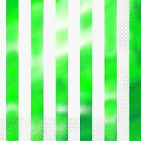 GREEN FOIL STRIPES LUNCH NAPKINS TABLEWARE PARTY SUPPLIES