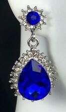 """Lovely!1.5"""" Long Blue Crystal Rhinestone Earrings, Queen, Prom, Evening, Pageant"""