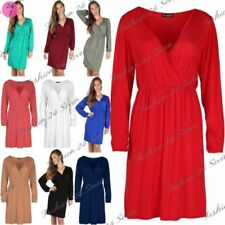 Long Sleeve Dresses for Women with Ruched Midi