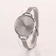 Ladies Fashion Silver Quartz Stainless Steel Slim Design Mesh Band Wrist Watch.