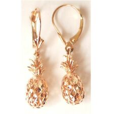 "14K Solid Rose Gold 3D Pineapple Earring W: (7.5 MM) L: 1-1/4"" (33 MM) E416-61"