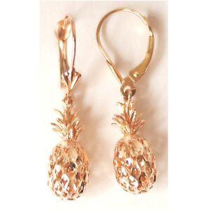 "14K Solid Rose Gold 3D Pineapple Earring W: (7.5 MM) L: 1-1/4"" (33 MM) E416-61"