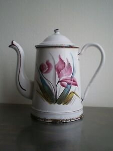 CAFETIERE METAL EMAILLEE ANCIENNE DECOR FLEUR 1900 DECO CUISINE CAMPAGNE