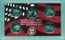 2002 5-piece SILVER STATE QUARTER Proof Set - Free shipping!