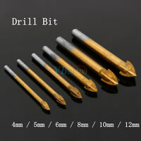 New 4/5/6/8/10/12mm Titanium Drill Bit Carbide Tile & Glass Cross Spear Head