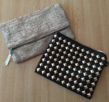Two ATMOSPHERE Handbags/Clutch Bags/Evening Bags, Silver Metallic, Black Studded