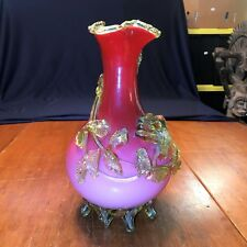 Antique Stevens & Williams Peach Blow Vase W/Applied Floral Rigaree Rim & Feet