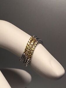 NWT LAGOS STERLING SILVER YELLOW SAPPHIRE STACK RING SET -SIZE 7