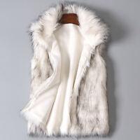 Women Faux Fur Vest Waistcoat Gilet Sleeveless Wool Jacket Coat Outwear White